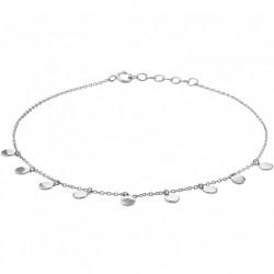 Zilveren enkelbandje platte open rondjes - 10031186