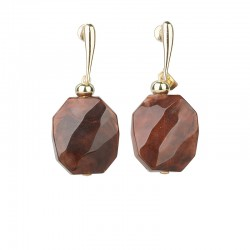 Camps & Camps Oorsteker - Cognac/bruin facetted stone - 4001675