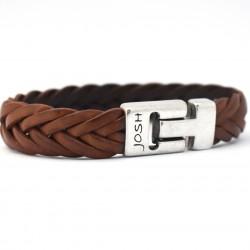 Josh 6 strengen gevlochten armband Cognac 24001 - 4001136