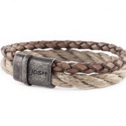 Josh armband met leren en scheepstouw streng BeigeCognac 09244 - 4001143
