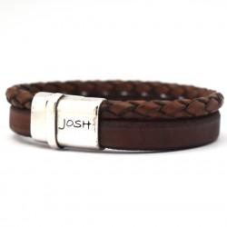 Josh armband 2 strengen, rond gevlochten en leren band Cognac 09110 - 4001145