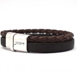 Josh armband 2 strengen, rond gevlochten en leren band Brown 09110 - 4001146