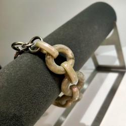 Camps & Camps armband - schakel khaki/parelmoer - 4001662