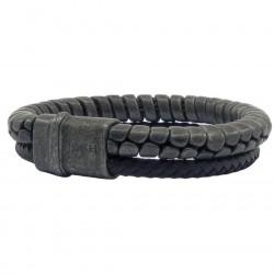 Josh armband 2 strengen, rond gevlochten zwart leer naast antiek stalen streng 9270 - 4002041