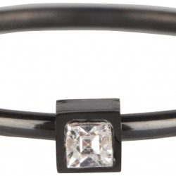 Charmins ring black steel stylisch square maat 18 R503 - 4002215